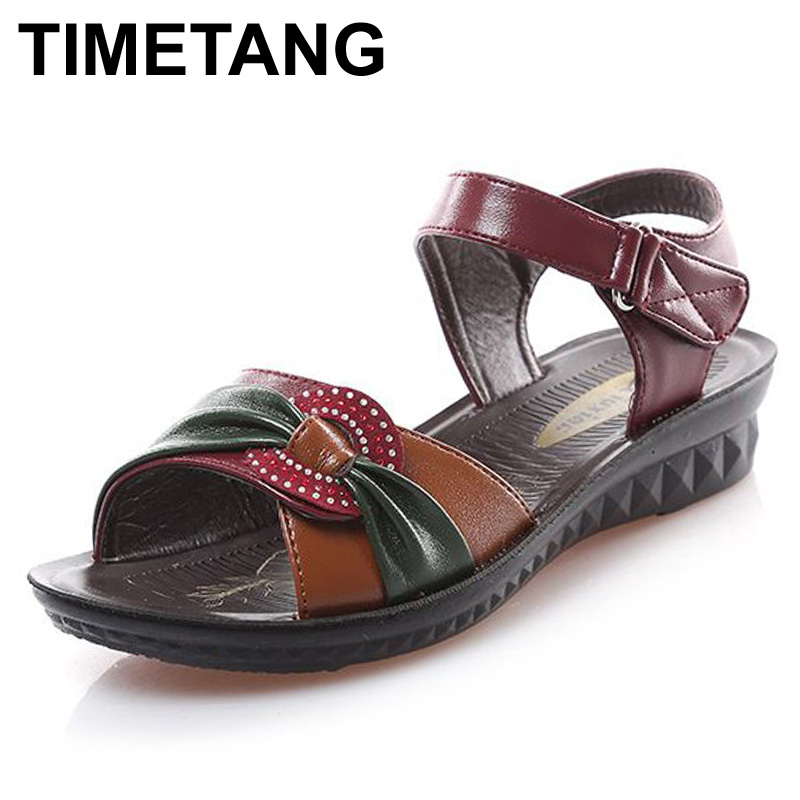 TIMETANG 2017 summer new fashion Woman sandals mother large size Flat leather Sandals slip comfort elderly Soft bottom sandals timetang mother sandals soft leather large size flat sandals summer casual comfortable non slip in the elderly women s shoes