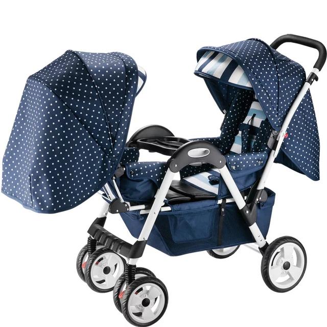 Nuevo Estilo Europeo Cochecito Gemelos Cochecito de Bebé Coche Travel System, Plegable Gemelos Cochecito de Bebé, Cochecito Doble Cochecitos y sillas de paseo