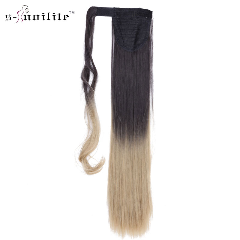 SNOILITE 18 inch Pony Tail Synthetic Long Stragiht Ponytail Clip In Hair Extensions Wrap on Hairpieces