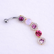 2015 New Lingerie Body Jewelry Rhinestone Dangle Button Barbell Belly Navel Ring Bar Piercing Chain Grillz anillo del ombligo UK