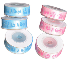 1 Roll 10Y It is a Boy Girl Printed Ribbon Baby Shower Christening Satin Ribbon Gift Packing DIY Crafts Christmas Ribbons