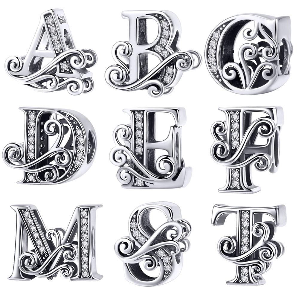 BISAER Hot Sale 925 Sterling Silver Letter A To Z Alphabet