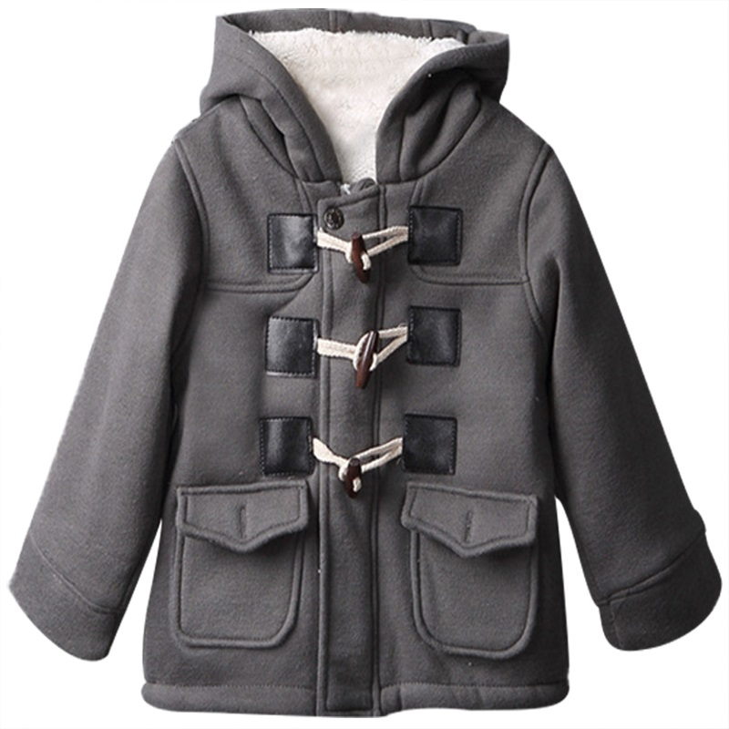 1-6yrs Christmas Clothes Fashion Baby boys Winter Warm Outerwear Thicken Hooded faux leather Fleece Jacket Outfit Overcoat