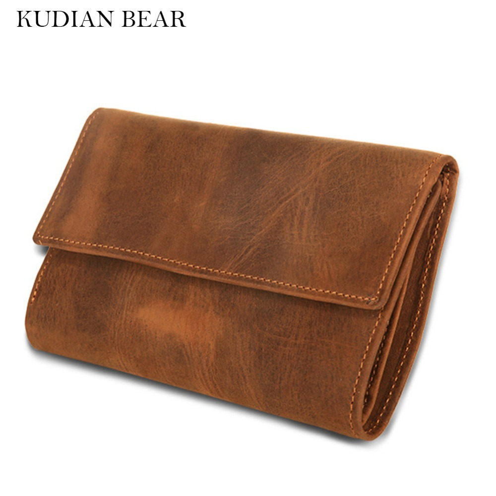 KUDIAN BEAR Genuine Leather Men Wallets Purses Crazy Horse Leather Handy Bags Travel Card Holder carteira masculina--BIK049 PM49