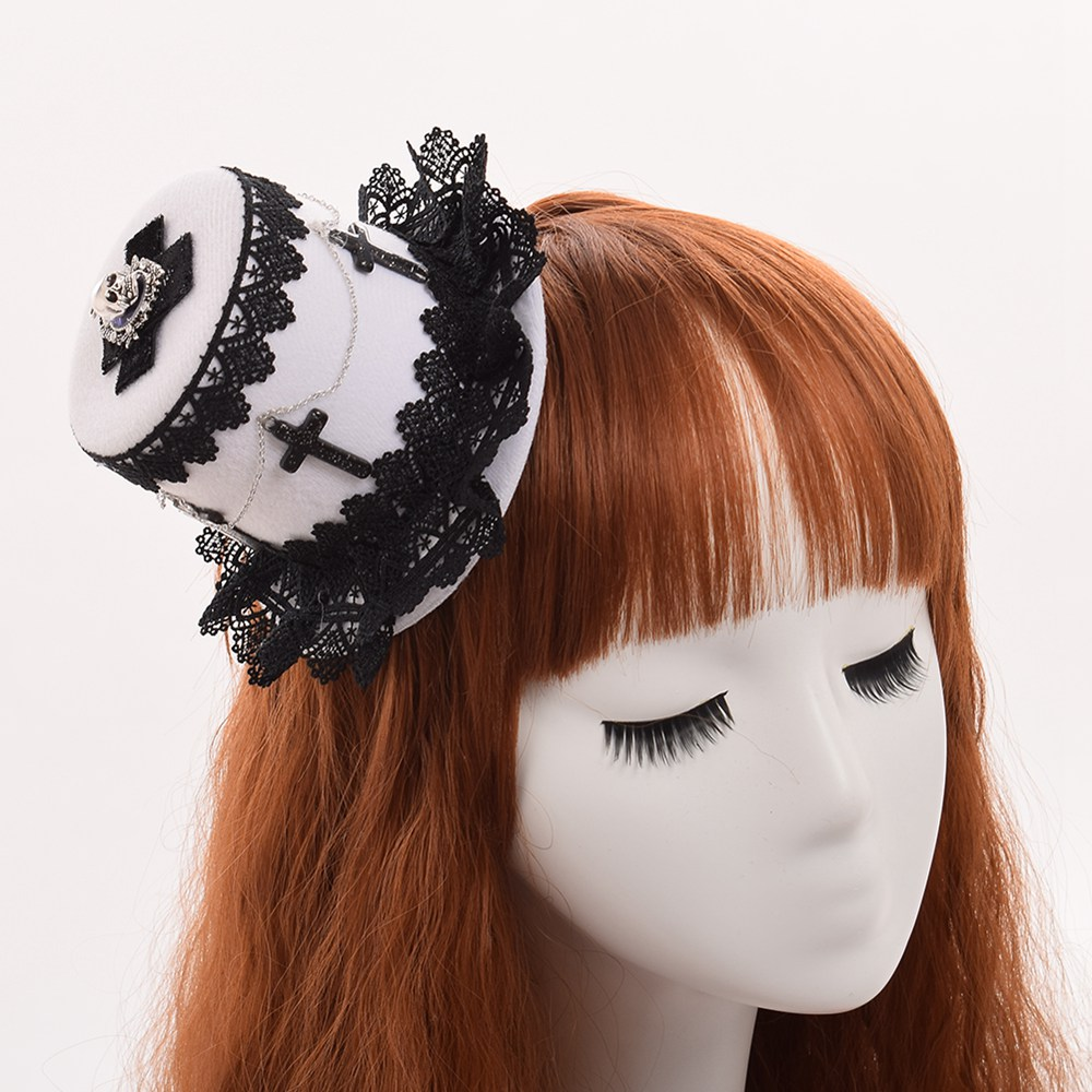 Halloween Girls Lolita Gothic Headwear Cross Skull Lace Mini Top Hat Hair Clip Handmade