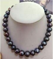 Бесплатная Доставка ОГРОМНЫЙ РЕДКИЙ AAA + 12-13 мм природный южного моря черный жемчужное ожерелье 18