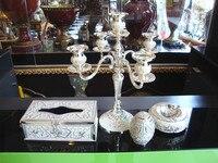 Placcato argento intagliato colla mano tavolo candela moda mousse di alta qualità di lusso tavolo candela