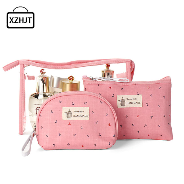 0ef565a9c48f 3pcs Set Women Travel Cosmetic Bag Transparent PVC Zipper Make Up Clear  Makeup Case Organizer
