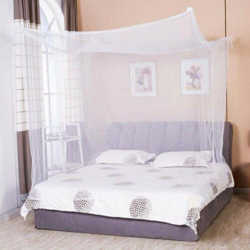 Mosquito Net 4 Corner Post Bed Canopy Twin Full Queen Size Home Bedding Netting