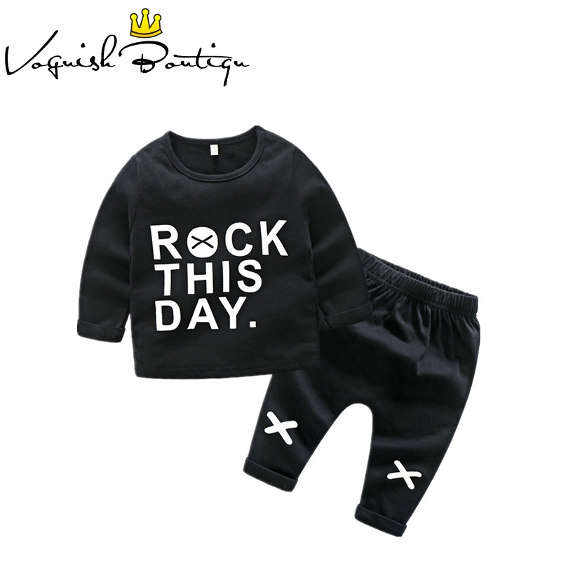 Newborn clothes <font><b>baby</b></font> girl clothes toddler boys clothing long sleeve <font><b>tshirt</b></font> rock printed newborn clothing <font><b>set</b></font> cotton clothes image