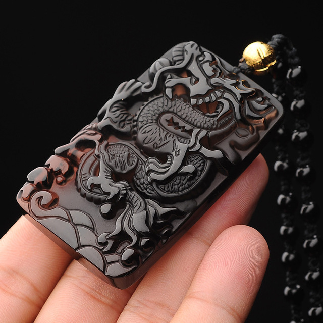 Chinese Dragon Necklace Obsidian