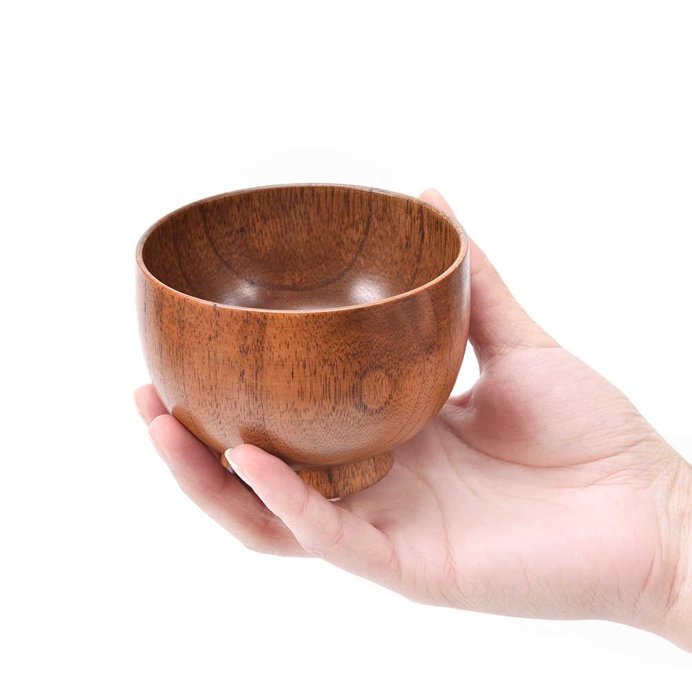 1 pc สไตล์ญี่ปุ่นบนโต๊ะอาหารไม้เดิมชามซุป/สลัดข้าวก๋วยเตี๋ยวชามไม้ธรรมชาติกินชามสำหรับเด็กเด็ก