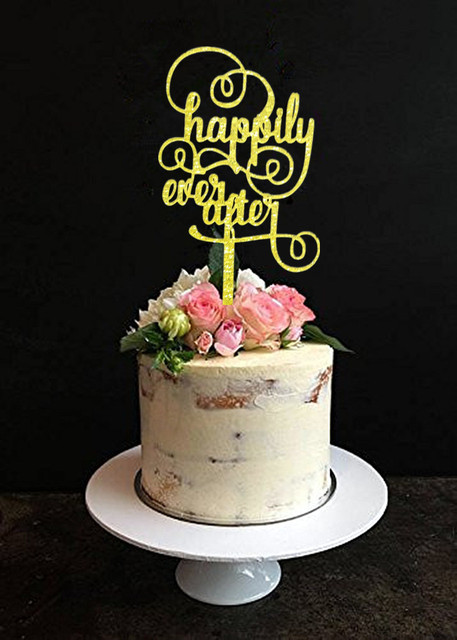 Glitter Gold Happily Ever After Wedding Cake Topper Engagement Cake