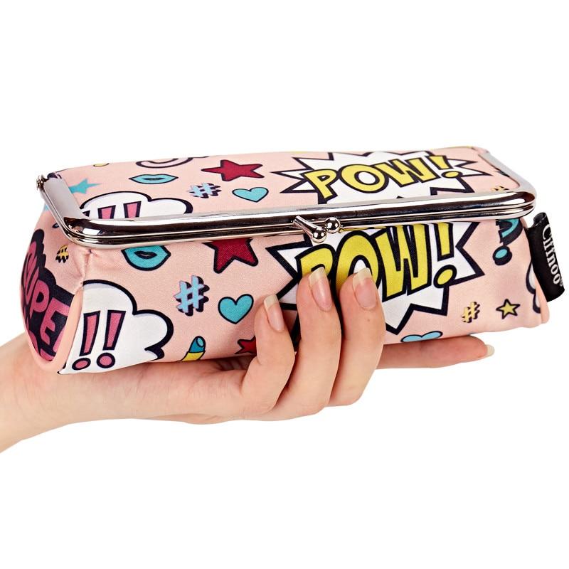 Cartoon Frauen Ziemlich Makeup Tasche Mit Spiegel Tragbare Lippenstift Kosmetiktasche Einfache Make-Up Veranstalter Toolbox Pinsel Aufbewahrungskoffer