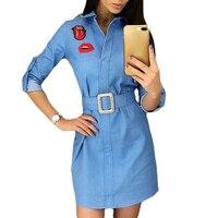 Women Blue Long Sleeve Dress Red Lips Printed Funny Fashion Mini Dress Preppy Style Loose Short