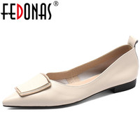 FEDONAS New Elegant Women Pumps Genuine Leather Low Heels Party Wedding Shoes Woman Sexy Pointed Toe Office Pumps Big Size Pump