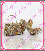 Aidocrystal Wedding Shoes High Heels Hand Made Crystal Handbag And Shoes Set Gold Shoes And Bags