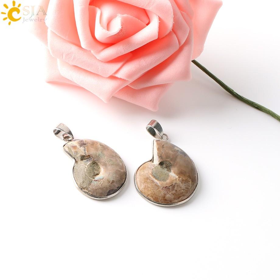 Натуральная подвеска с камнями csja окаменевшая чаша аммонита