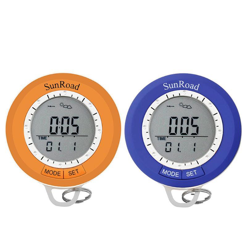 Mini LCD Digital Pedometer Mini Digital Altimeter Outdoor Camping Hiking Pedometer Barometer Compass Thermometer Carabiner