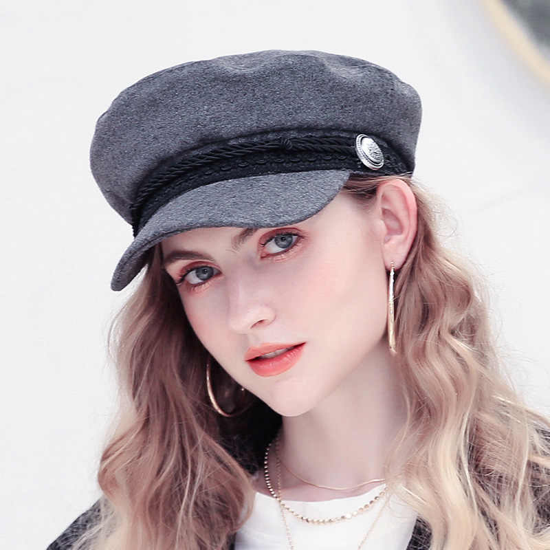 Fashion Winter Wool Beret Hat Women 2018 Autumn Black Fiddler Cap Hat French  Style Flat Caps 16304576387c