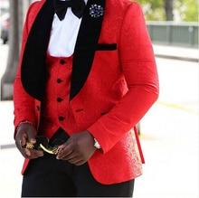 Новый Шаль Лацкане Жениха Смокинги Groomsmen Красный/Белый/Черный Мужские Костюмы Свадебные Лучший Мужчина Пиджак (Куртка + брюки + Галстук + Жилет) C45(China (Mainland))