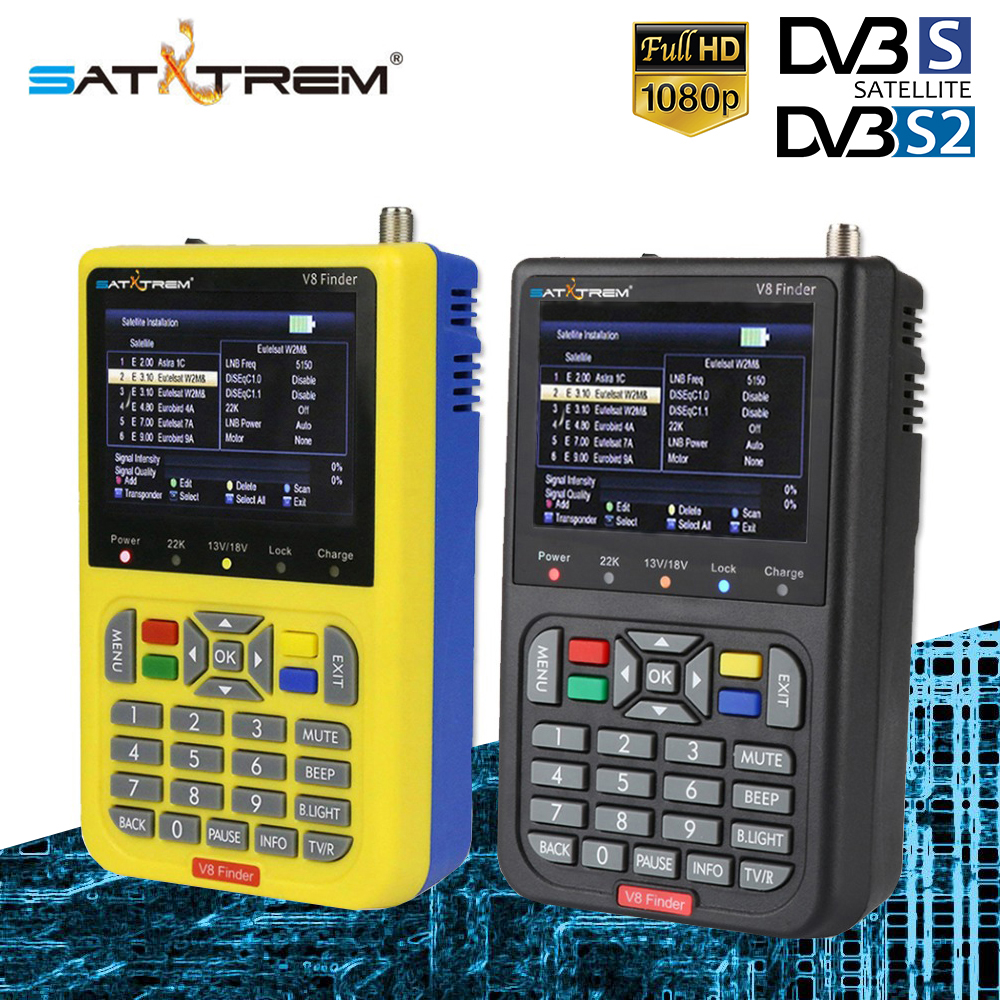 SATXTREM V8 Finder HD DVB-S/S2 Satellite Finder High Definition Receiver MPEG-4 DVB S2 Satellite Meter Full 1080P FTA Sat Finder