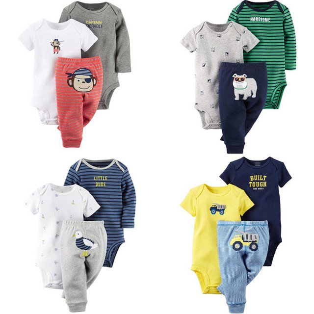 Baby Sets Baby Boys Girls Clothing 3pcs / Set Summer Spring Autumn Baby Bodysuits Short / Long Sleeve Pants Baby Kids Suit V49