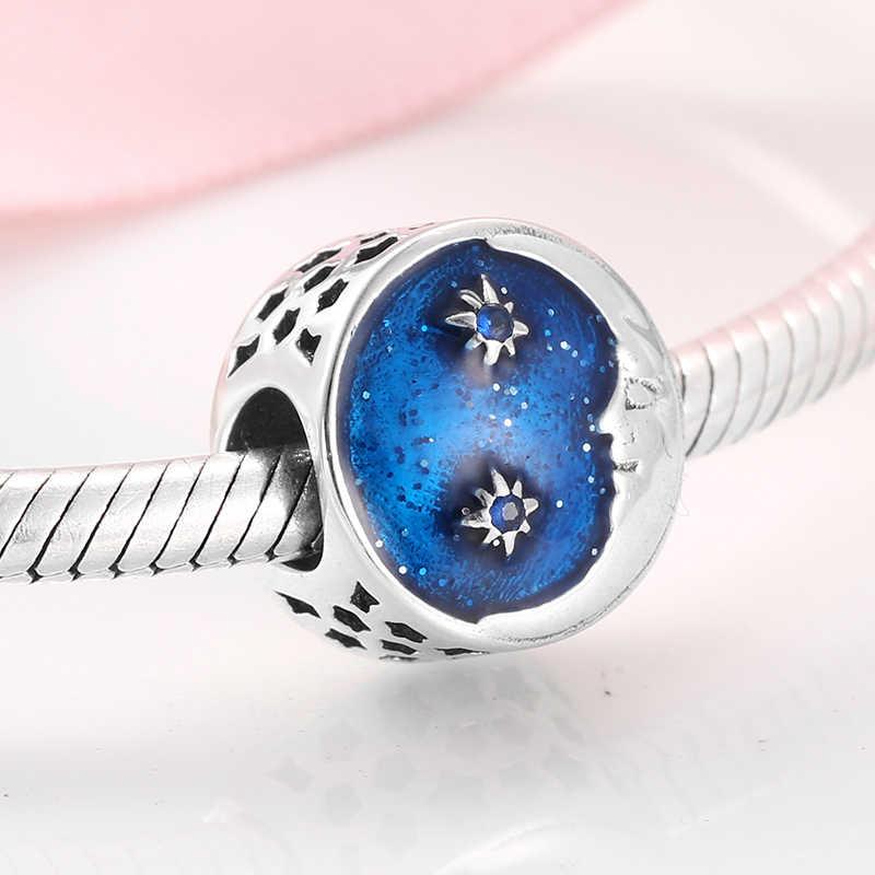 925 Sterling Silver tajemniczy księżyc baby blue emalia wisiorki koraliki Fit oryginalny bransoletka typu charm pandora tworzenia biżuterii