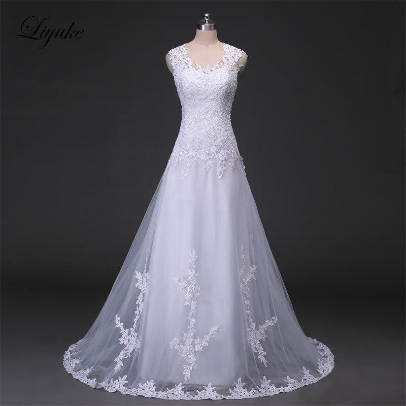 Liyuke J39 Scoop Tầng-Length A-Line Wedding Dresses Tay Appliques Tulle Illusion Lại Tự Nhiên Cô Dâu Thanh Lịch Dresses