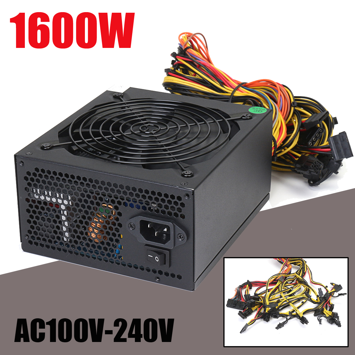 1600W Mining Power Supply For 6 GPU Eth Rig Ethereum Crypto Coin Miner Antminer High Quality computer Power Supply For BTC цена 2017