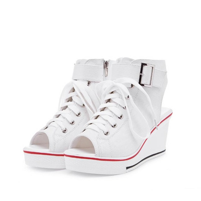 womens Lady Wedge Heels Canvas High Top Platform Sneakers Sandals Open Toe Shoes