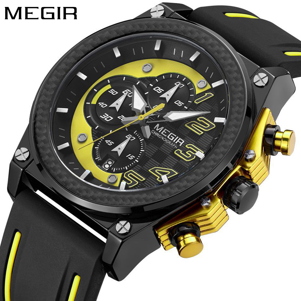 Watch Men Style MEGIR Luxury Brand Sports Quartz Watch Silicone Men's Wrist Watches Boys Chronograph Clock Male reloj hombre