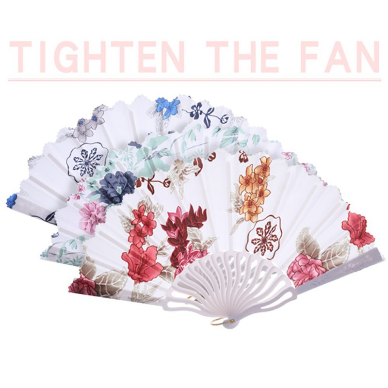 Chinese Style Fower Patter Handheld Plastic Fan Dancing Props Home Wall Decor Art Floral Decorative Folding Fan Satin Fabric