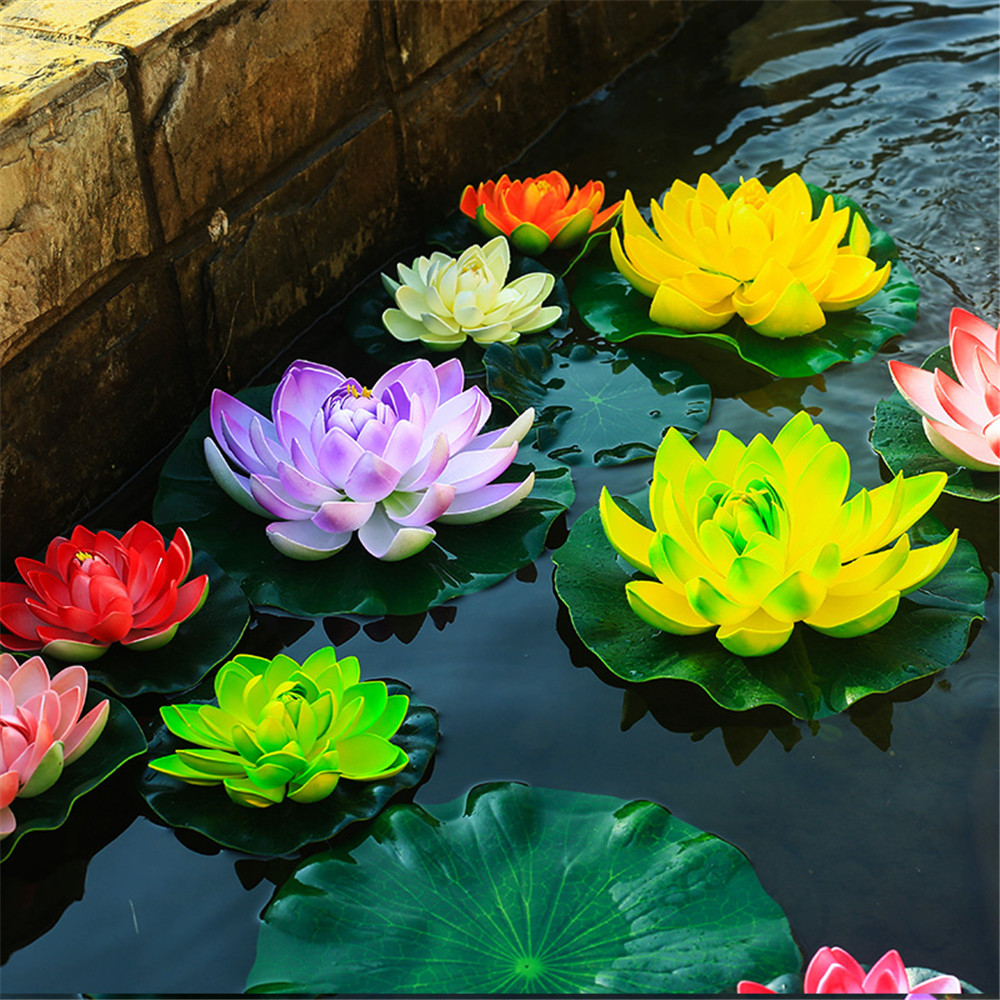 Lotus wedding bouquet reviews online shopping lotus wedding free shipping 1pcslot artificial foam flowers fake bouquet for wedding decoration fish tank floating water lily lotus size 10cm dhlflorist Image collections