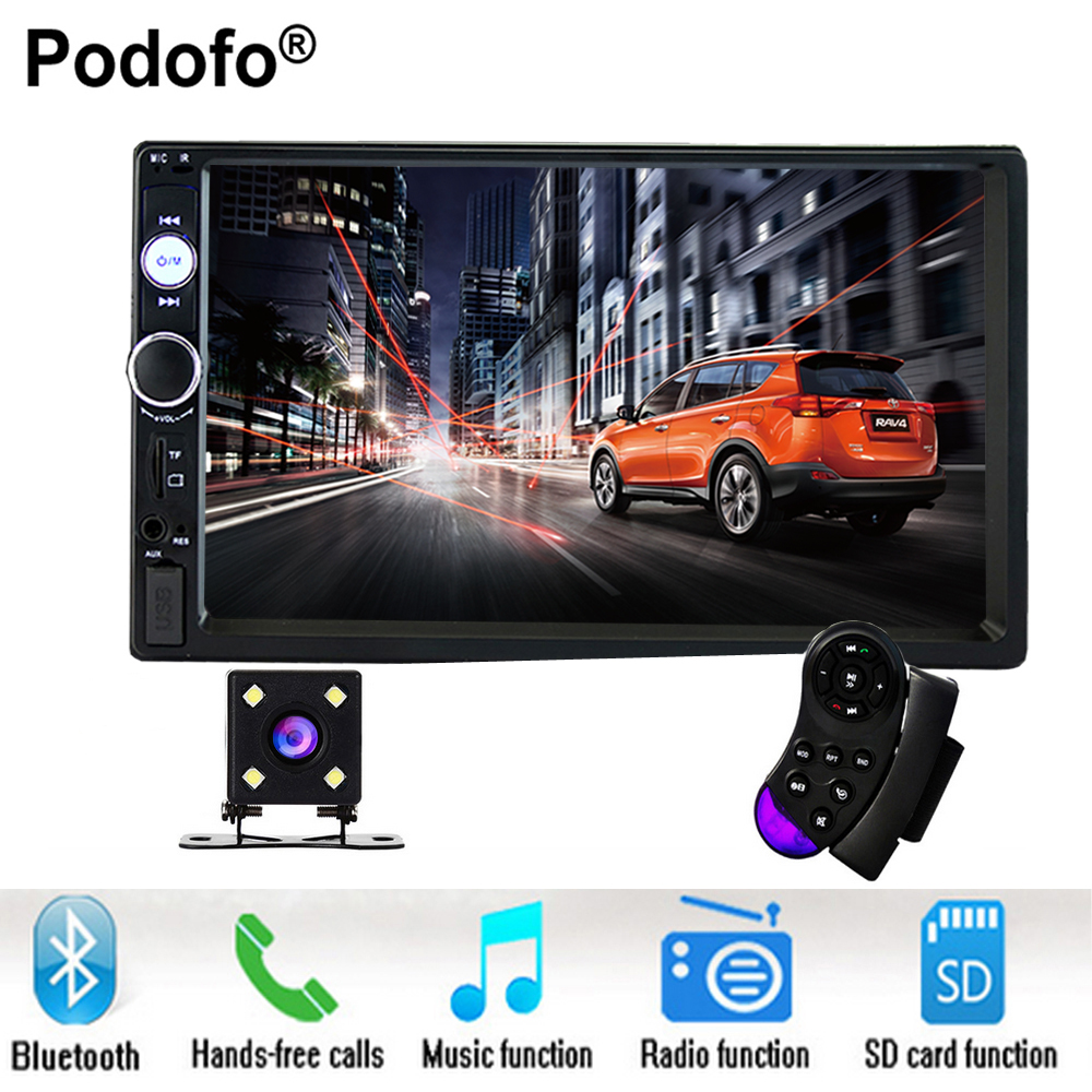 Podofo 2 din car radio 7 HD Player MP5 Touch Screen Digital Display Bluetooth USB SD Multimedia 2din Autoradio Rear View Camera 7 inch touch screen 2 din car multimedia radio bluetooth mp4 mp5 video usb sd mp3 auto player autoradio with rear view camera