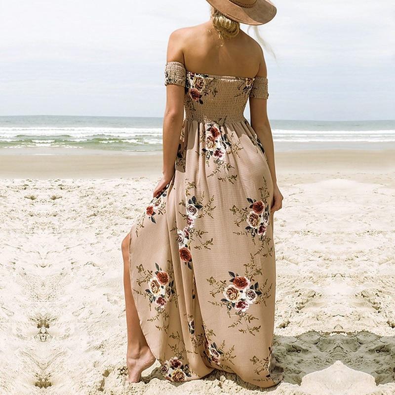 Womens Off Shoulder Bodycon Sundress Evening Party Long Boho Maxi Summer Dres
