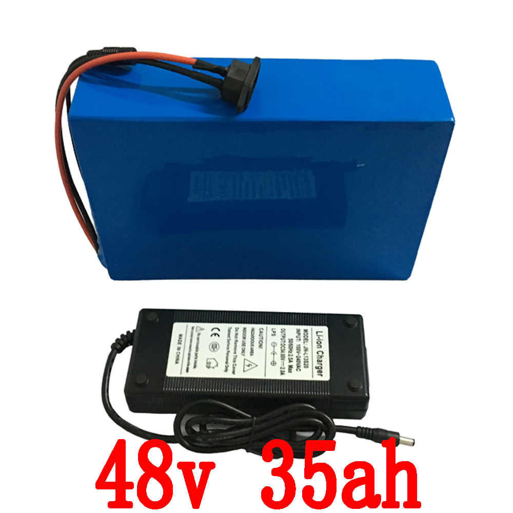Free Shipping e-Bike Battery 48v 35ah 1800w Lithium Battery Pack for 48v Electric Bike DrivMotor with  2A Charger and 30A BMS free customs taxes customized 72v 40ah lithium battery pack for e bike electric scooters ev e bikes with charger and 50a bms