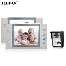 JERUAN 8 pulgadas teléfono video de la puerta sistema de intercomunicación de vídeo timbre altavoz de intercomunicación recoreding tomar fotos 1 Cámara 2 monitores