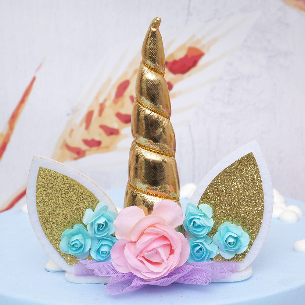 14cm Gold Silver Unicorn Horns Cake Topper Kids Birthday ...