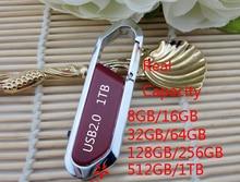 Hot Sale Metal Hook Memoria USB Flash Drive 512GB 256GB 128GB 16GB 32GB USB 2.0 Flash Disk Pendrive Pen Drive 64GB Memory Card