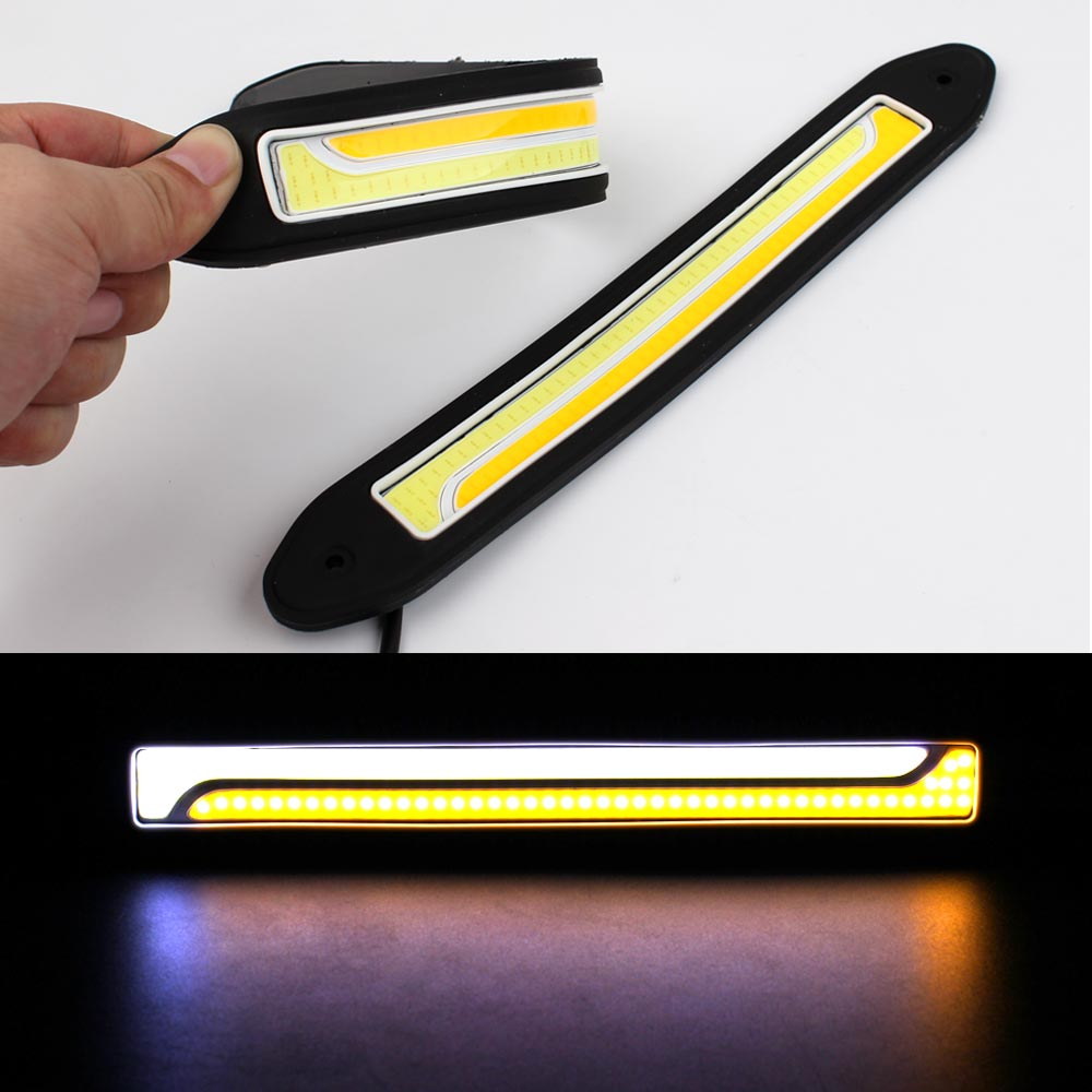 Flexible LED DRL Daytime Running Light Waterproof  white DRL Yellow Turning Signal COB DRL Kit Day Light  Driving Light 12v 20w flexible white daytime running light turn lights led cob day run lights drl with amber turning steering signal lamps