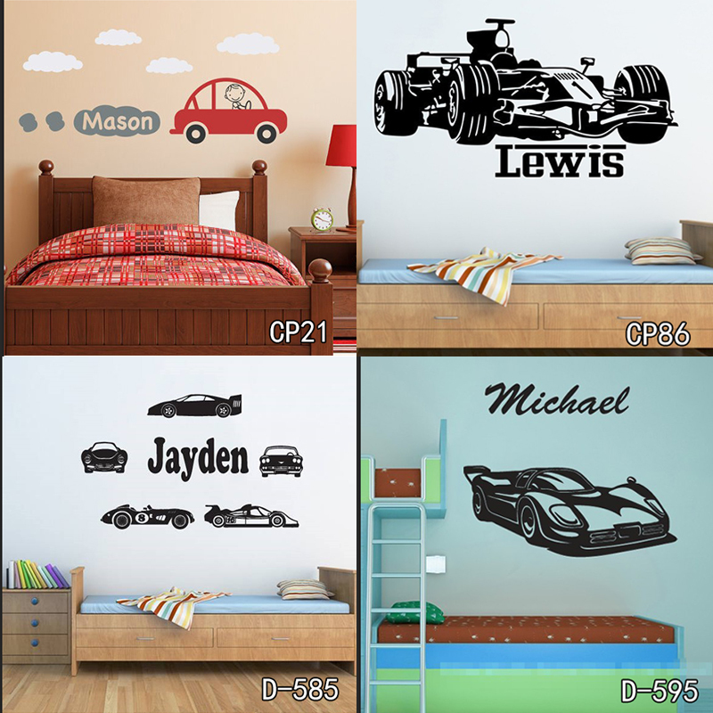 Personized Race Car Wall Stickers Home Decor DIY Poster Decals Kids Room Nursery Mural Customized Name Tractor Car Wallpaper