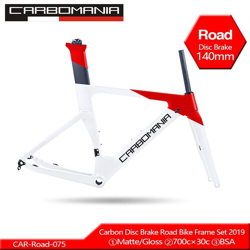 2019 Carbon Road Frame Disc Brake 700c Carbon Disc Bike Frame Di2 Mechanical Road Cycling Race Bicycle Frame Set Thru Axle 12mm