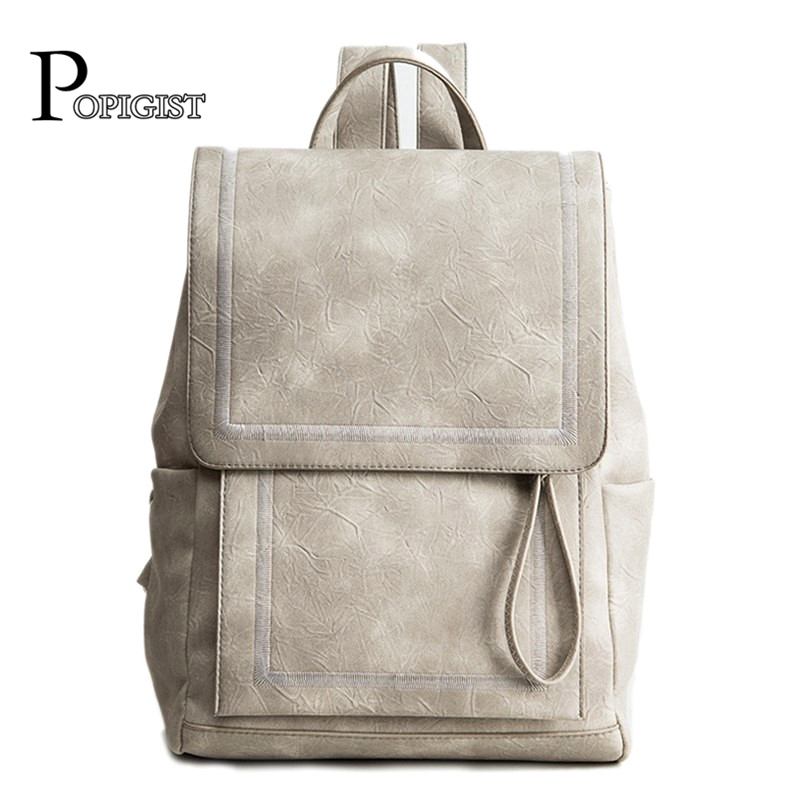 POPIGIST Popular Design women's Backpacks Casual fashion Ladies Leather bag Couple Brand Backpack School Travel Unisex foru design 600d fashion backpack brand design school book bag polyester bag men computer packsack swiss outsports backpacks