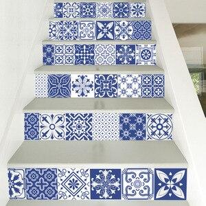 Image 4 - Calcomanías de vinilo de porcelana blanca y azul de China, azulejo de cerámica para decoración de escaleras de habitación, decoración de suelo para el hogar, pegatina de pared