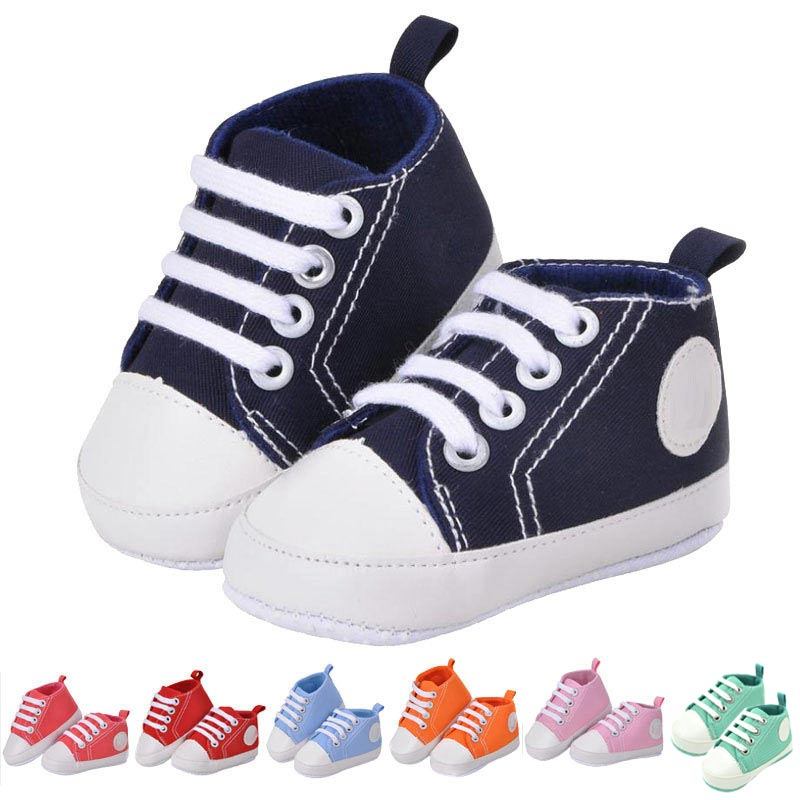 New Newborn Baby Boys Girls Soft Sole Shoes Infant Lace Up Sneakers Prewalkers Shoes
