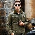 Chaqueta de cuero real de los hombres de piel de cerdo verde chaquetas de la chaqueta de Cuero Genuino hombres de cuello de piel cálido abrigo de cuero chaqueta de bombardero