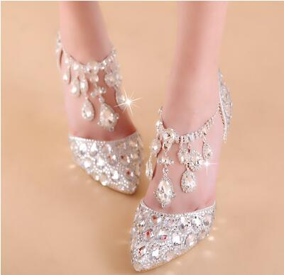 ФОТО Luxury high-heeled shoes with straps wedding party shoes TG503. silver pointed toe rhinestone big bling diamond wedding shoes