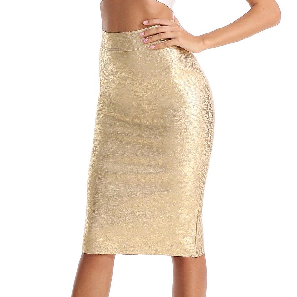 Women Summer Bandage Skirts 2018 Autumn High Waist Elastic Pencil Skirt Female Bodycon Skirts Knee Length Ladies Office