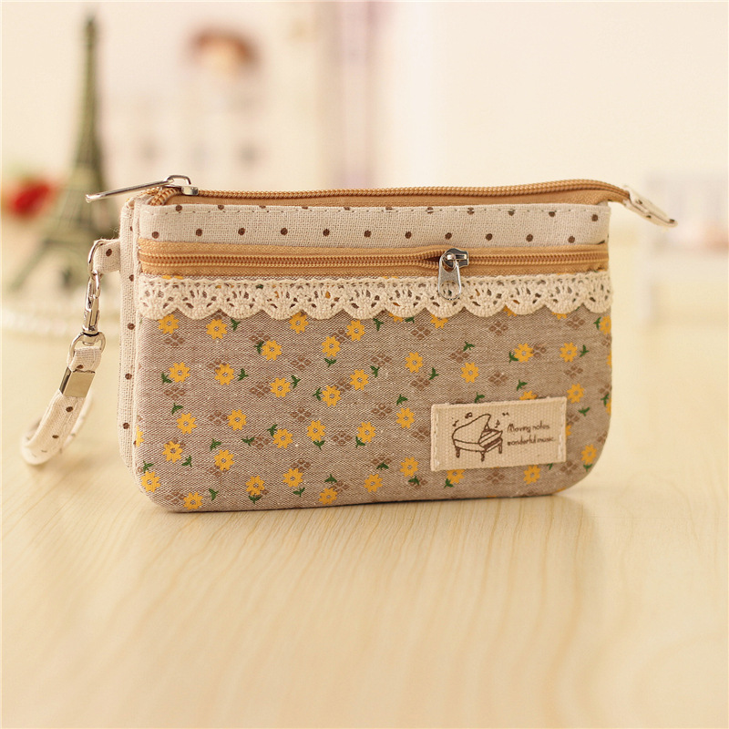 Cotton floral womens coin purse ladies long change wallets bags female small phone pouches girls carteiras organizer handbags
